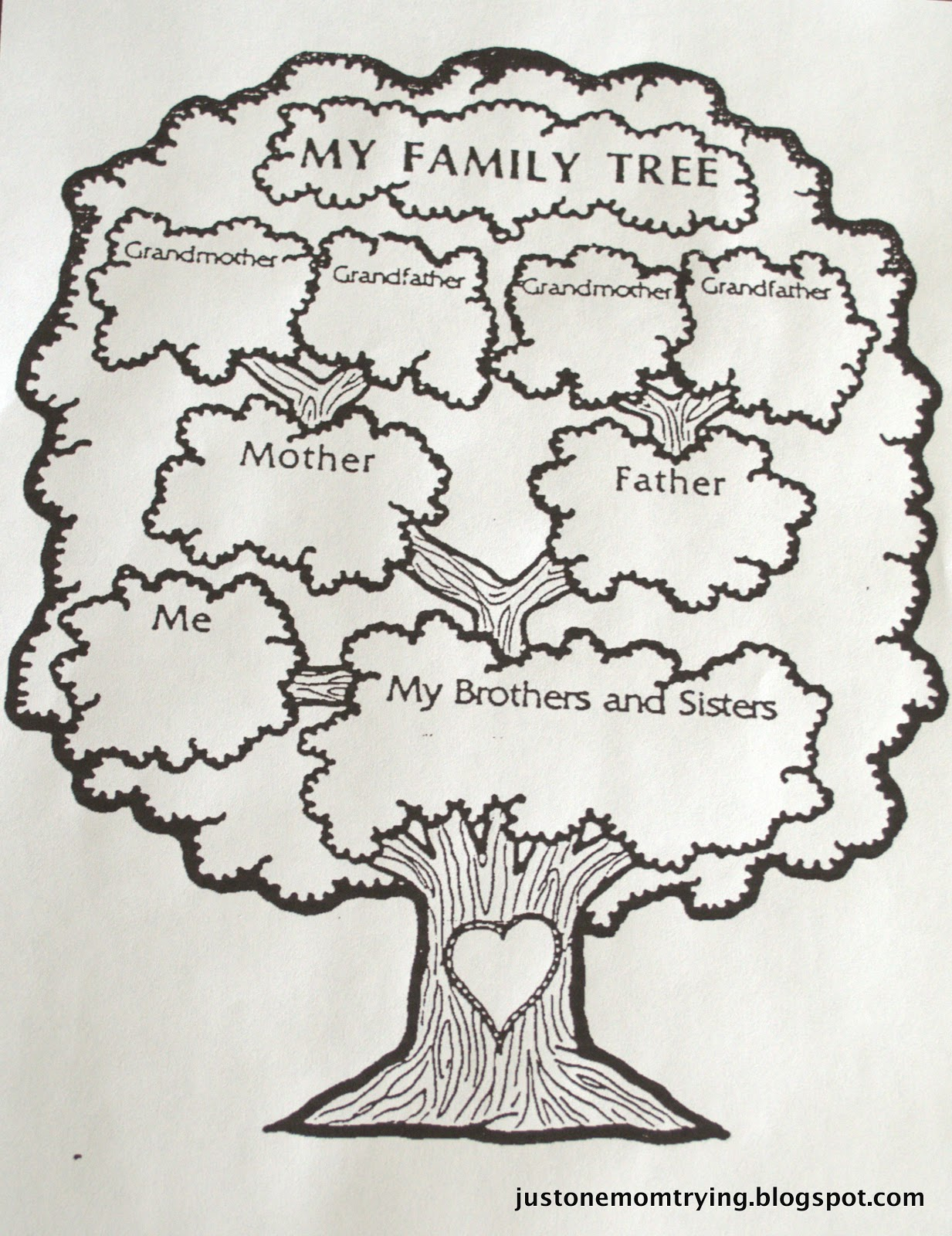 draw a family tree template - just one mom trying