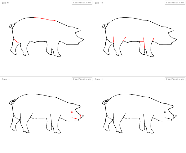 Fpencil How To Draw Pig For Kids Step By Step