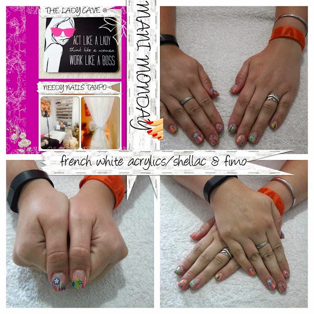 Acrylic extensions Shellac manicure French white tip Shellac topcoat neon rainbow colored striping