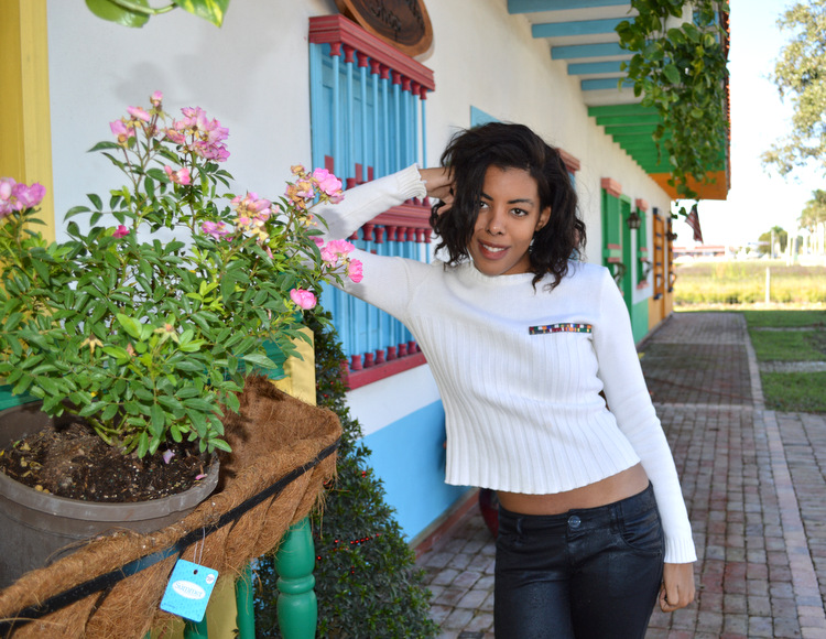 Fashion Blogger Anais Alexandre of Down to Stars in a vintage zara military sweater and jolt leather pants  in a mexican puebla village in homestead florida