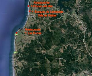 Mapa general con los 3 lugares reseñados