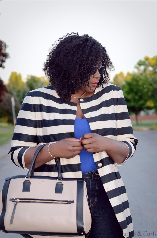 French curves-Plus size fashion blogger- striped jacket
