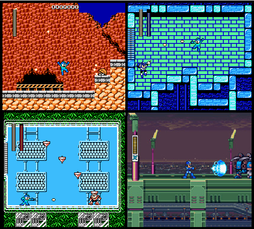 Four screenshots of Mega Man games. Guts Man's Stage in the top left, Flash Man's Stage in the top right, Top Man's Stage in the bottom left, and Mega Man X in the bottom right.