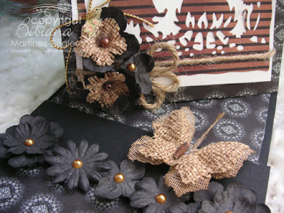 halloween twisted easel card  with petaloo flowers