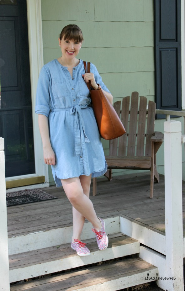 chambray dress and floral sneakers for the weekend | www.shealennon.com