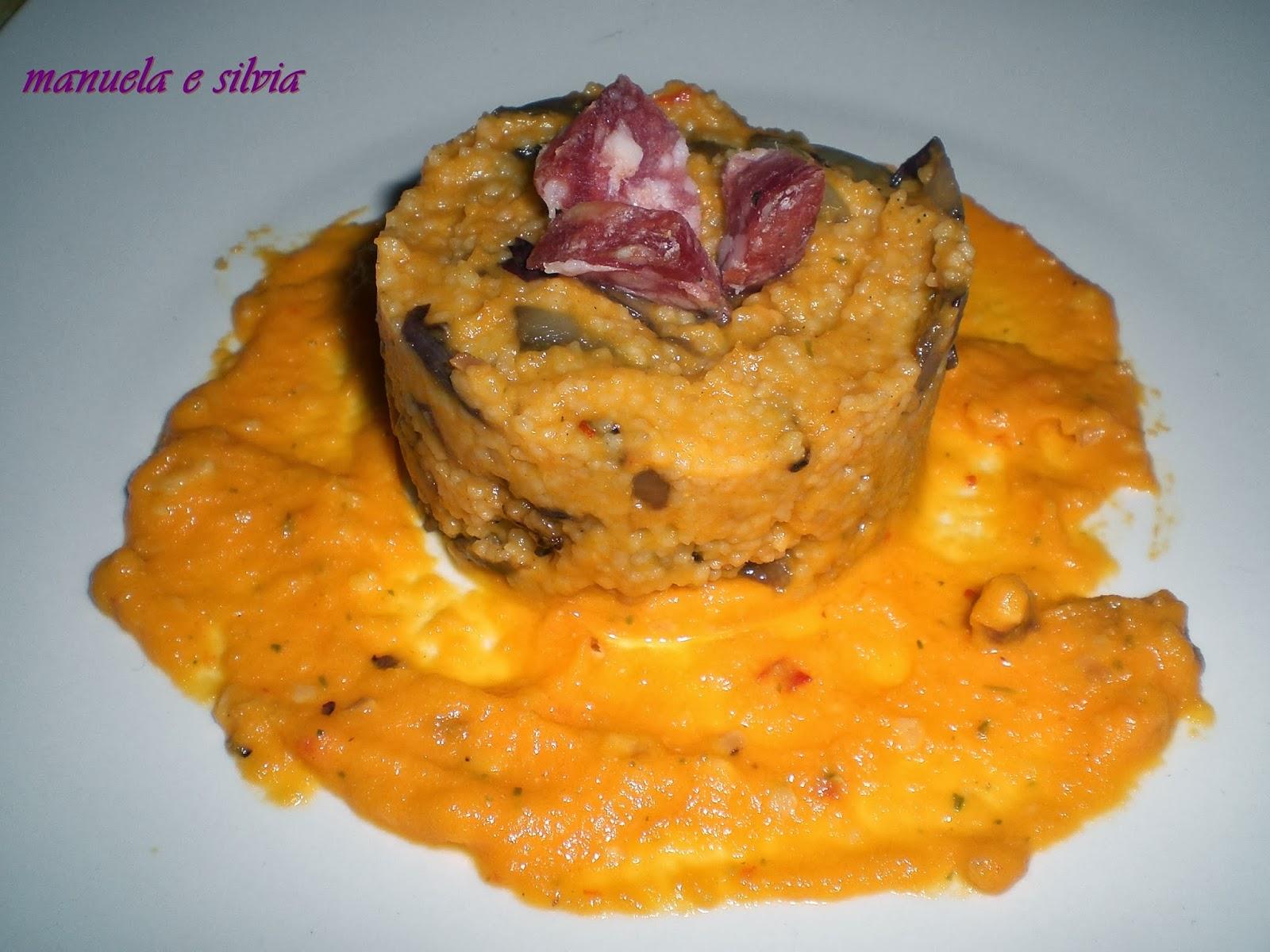 cous cous con crema aromatica di carote, radicchio croccante e cubetti di salame