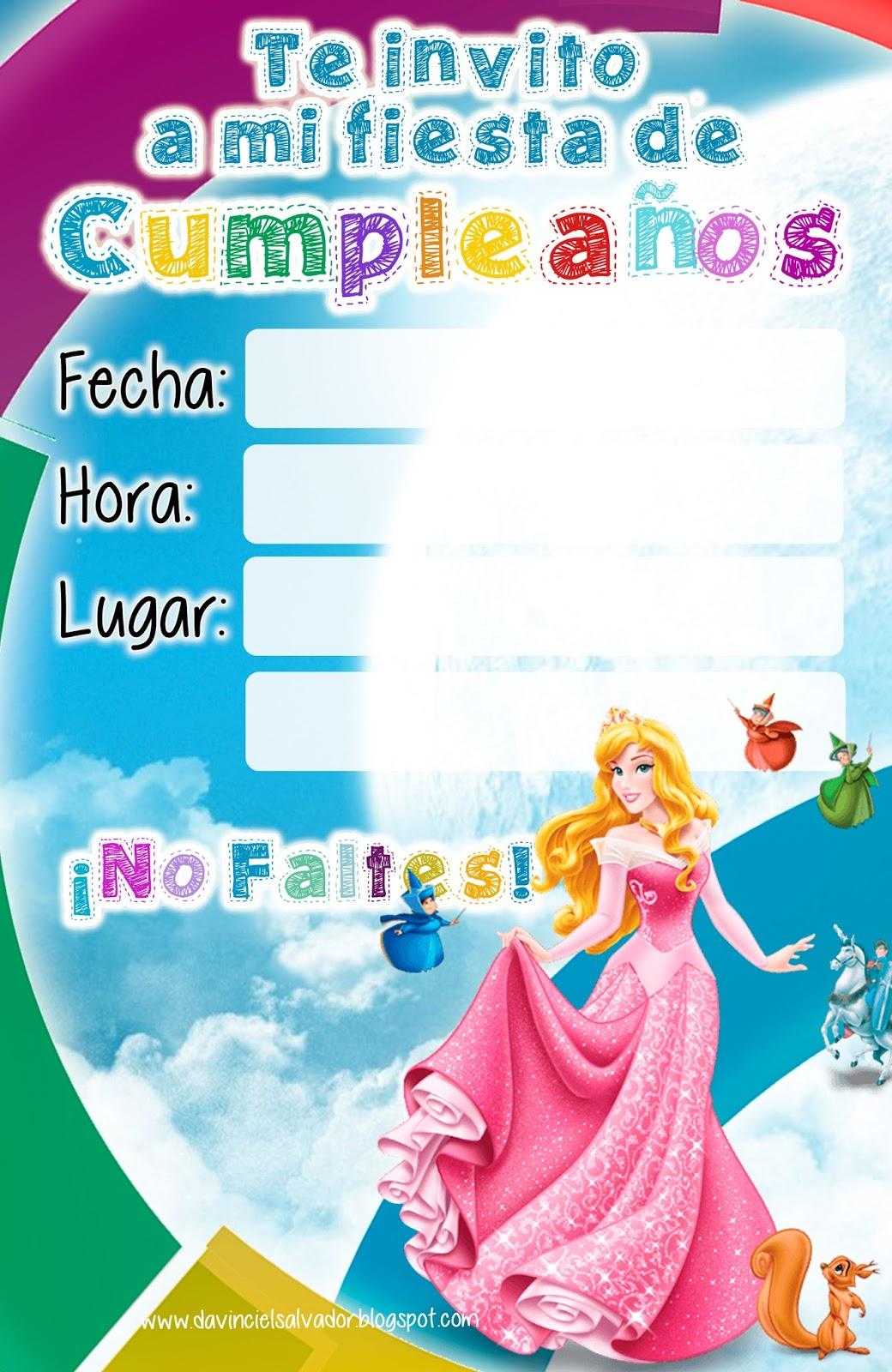 Invitación de Cumpleaños de la Bella Durmiente Aurora Princesas Disney