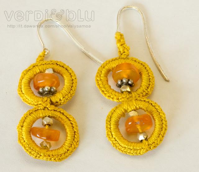 orecchini crochet total yellow corniola, argento