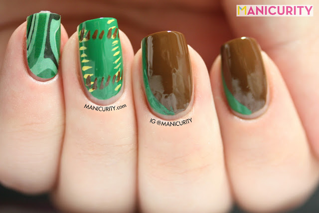 Manicurity | Jamberry Nails Retro Emerald pattern shield wrap