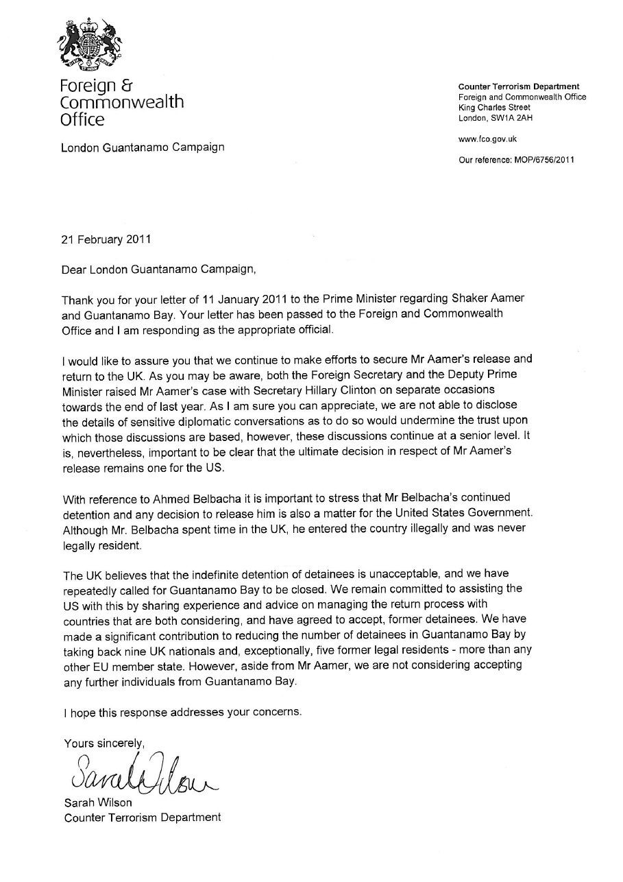London guantnamo campaign response from the fco to lgc letter of on 11 january this year as part of our actions to mark the ninth anniversary of guantnamo bay the london guantnamo campaign lgc delivered a letter to spiritdancerdesigns Image collections