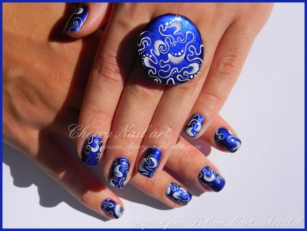 nail art abstrait one stroke monochrome  ongles courts inspiration Polina Martsinkevitch