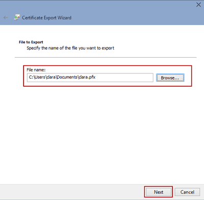name export certificate file