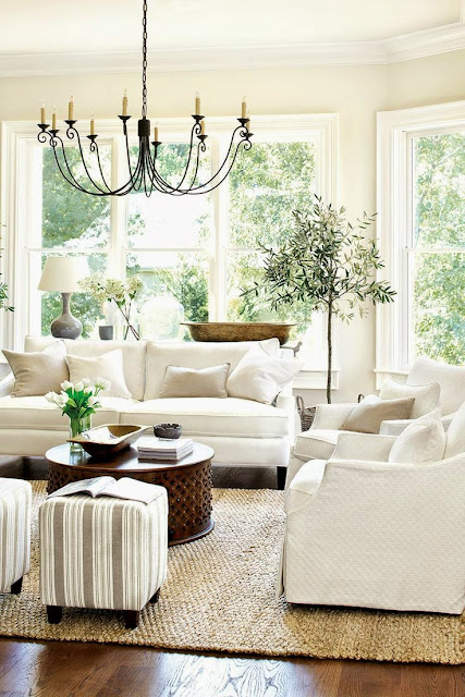 traditional all white living room