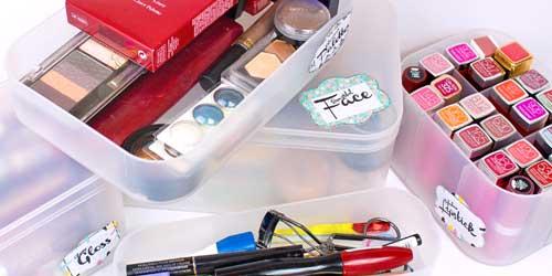 clasificar maquillaje cajas