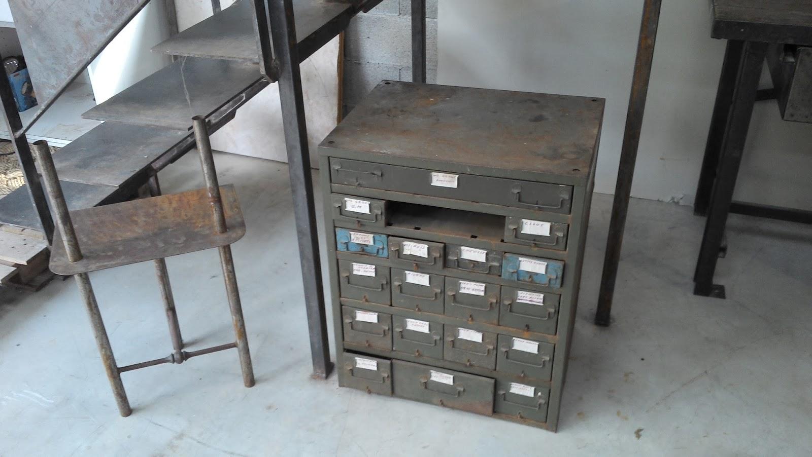 Ancien meuble de m tier m tal - Meuble metal industriel loft ...
