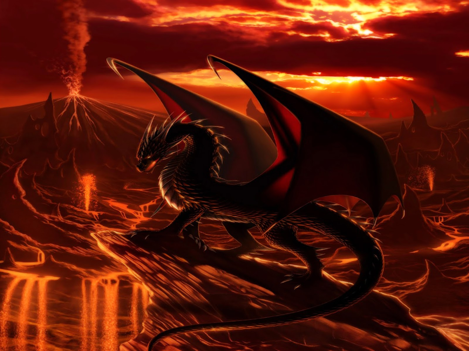 Fantasy Black Dragon Wallpaper