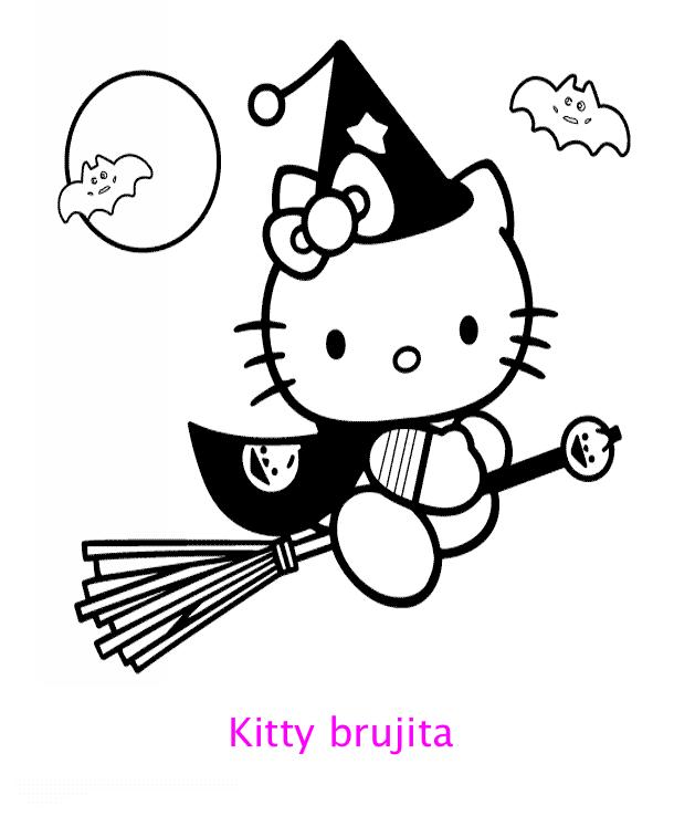 Hello Kitty brujita para colorear : Locos por Hello Kitty