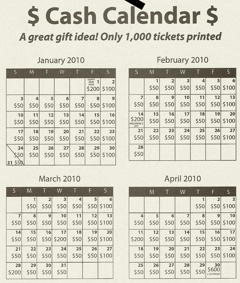 Calendar Raffle Ideas : Calendar raffle fundraiser template large