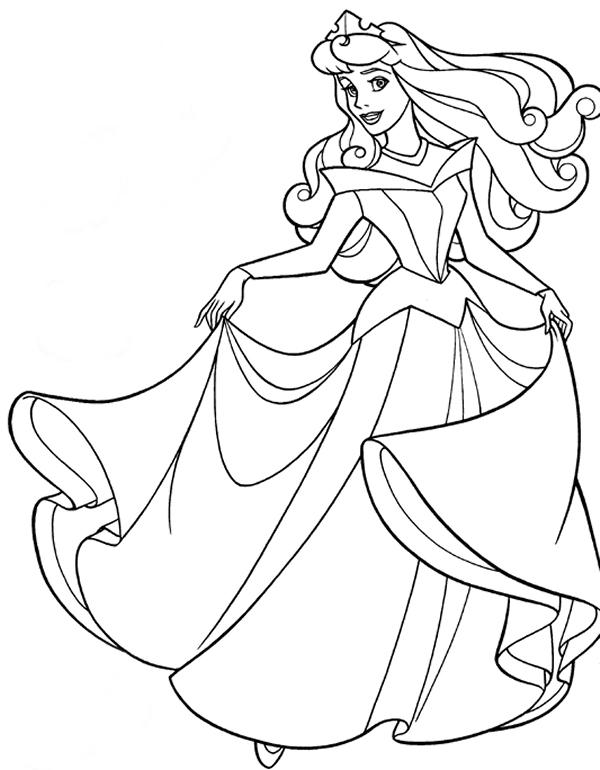 Las Princesas para Colorear: Princesa aurora para colorear e imprimir