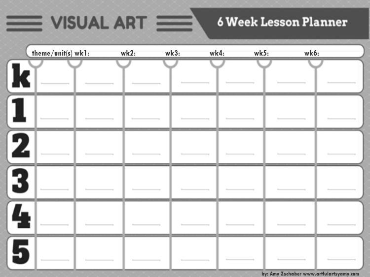 Visual Arts Lesson Planners - 6 Weeks at a Glance (for all grades ...