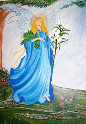 Αρχάγγελος Γαβριήλ Ελαιογραφία σε μουσαμά© Nότα Κυμοθόη