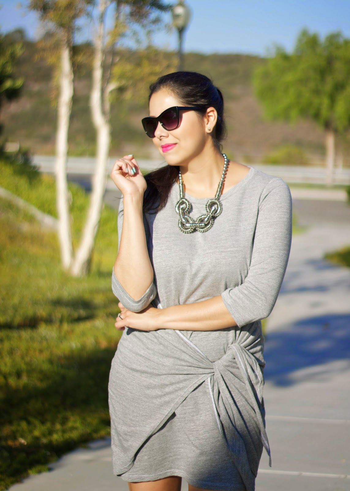 Gray Wrap Dress, Grayscale dress, how to take an outfit from day to night
