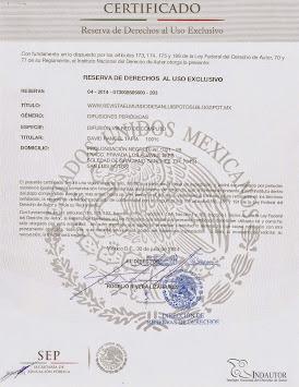 CERTIFICADO DE DERECHOS DE AUTOR, DE LA REVISTA EL MUNDO DE SAN LUIS POTOSÍ.