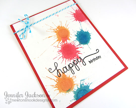 Happy Birthday Paint Splatter Card by Jennifer Jackson | Simply Sentimental Stamp | Newton's Nook Designs