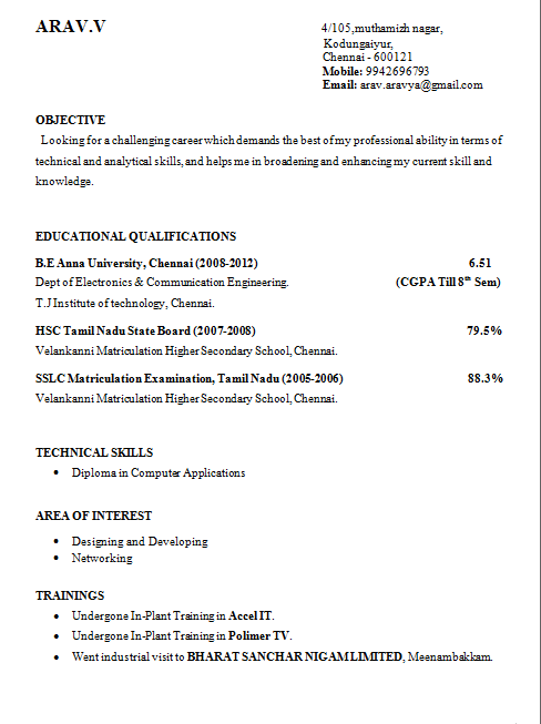 Final Year Engineering Student Resume Format – Educational Resume Format