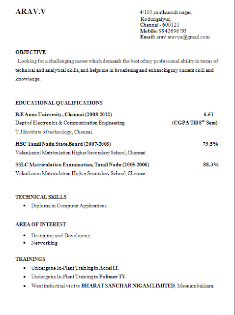 final year engineering student resume format - Sample Resume Format For Freshers Engineers