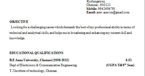 year engineering student resume format