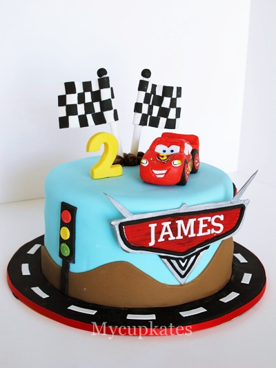 Mycupkates cakes cupcakes cookies disney car cake happy birthday james 6 inch round banana chocolate cake thecheapjerseys Images