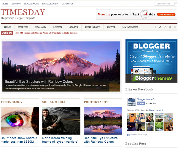 TimesDay Blogger Template