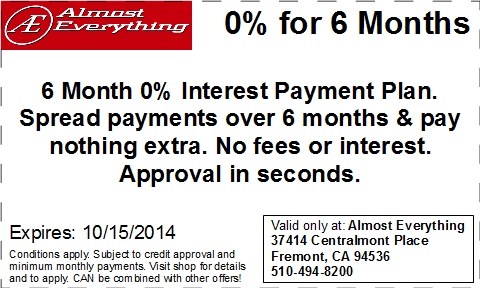 Coupon Almost Everything 6 Month Interest Free Payment Plan Septemter 2014