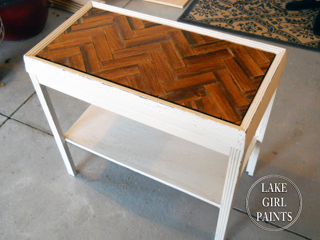 http://lakegirlpaints.blogspot.com/2014/01/wood-chevron-pattern-on-side-table.html