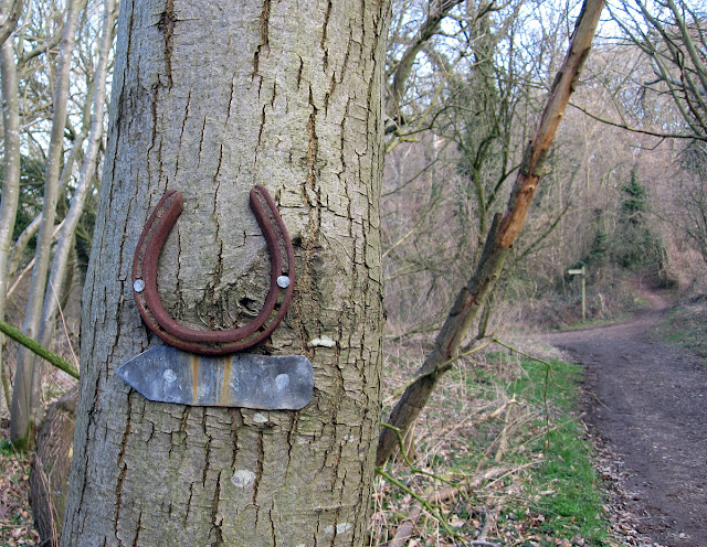 Horseshoe sign on a bridleway near Cudham. 25 February 2012.