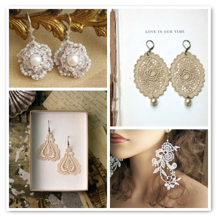 lace earrings on Etsy