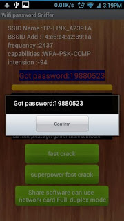 Screenshots of the Wifi Password Sniffer for Android tablet, mobile phone.