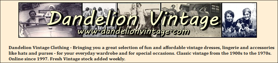 Dandelion Vintage Clothing, weekly updates page
