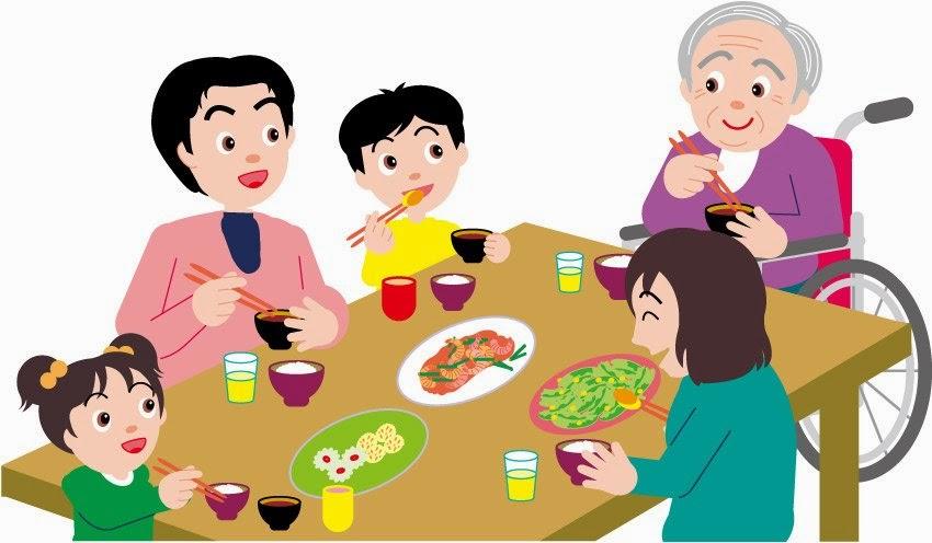 Gambar Makan Kartun Keluarga Bahagia di Meja Makan Lucu