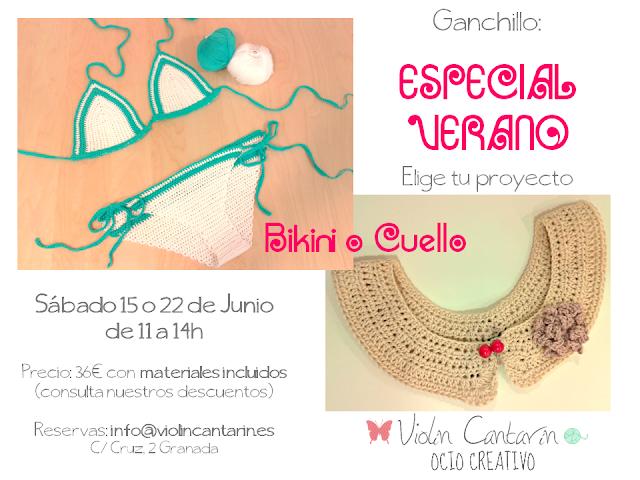 Ganchillo, crochet, algodón, bikini, cuello peter pan, Violín Cantarín