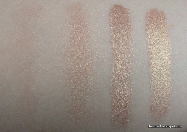 Swatches of e.l.f. Baked Eyeshadow in Enchanted (left to right): dry, dry with primer,  wet brush with e.l.f. Lock and Seal, wet brush with water