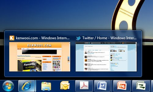 windows 7 taskbar preview
