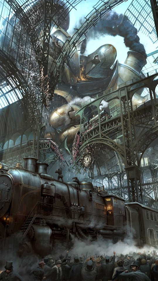Steampunk Train Station Titan  Galaxy Note HD Wallpaper