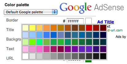 COLOURS Advertisements of the Google Adsense