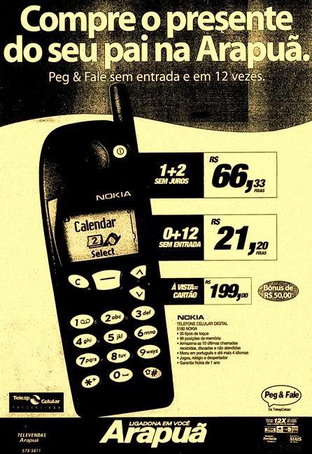 Propaganda da Telesp Celular anunciando celular Nokia 5180 no Dia dos Pais da Arapuã.