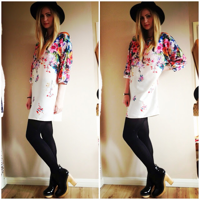 floral dress, Zara, fedora, boho style, outfit, look, fashion