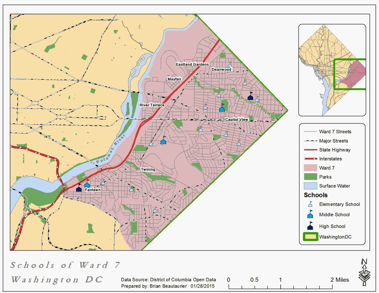 The Notorious Gis Map Of Schools In Ward 7 Washington Dc