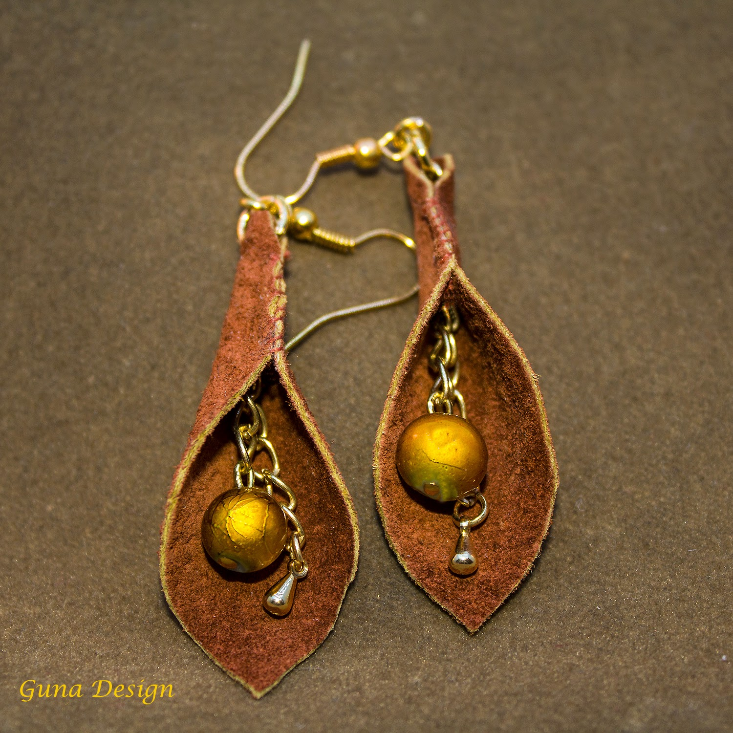 gunadesign guna andersone Brown calla flower leather earrings