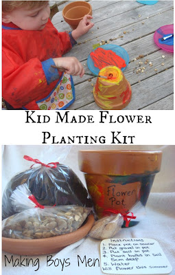 Kid made flower planting kit